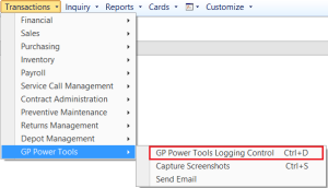 GP Power Tools Transaction Menu