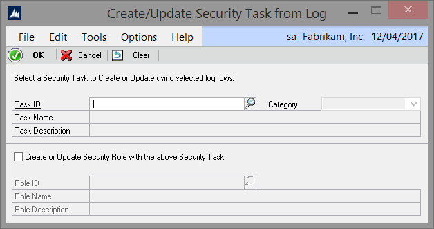Security Log Create Task