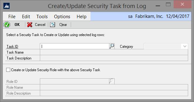 Security Log Create Task