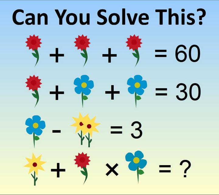 Friday Funny Another Flower Themed Algebra Maths Puzzle