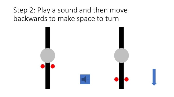 Step 2: Play a sound and then move backwards to make space to turn