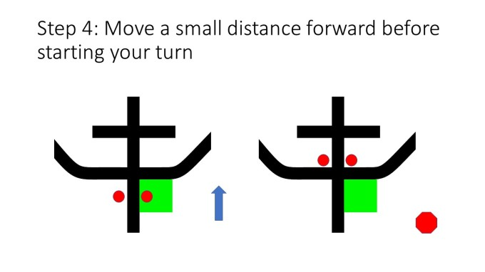 Step 4: Move a small distance forward before starting your turn